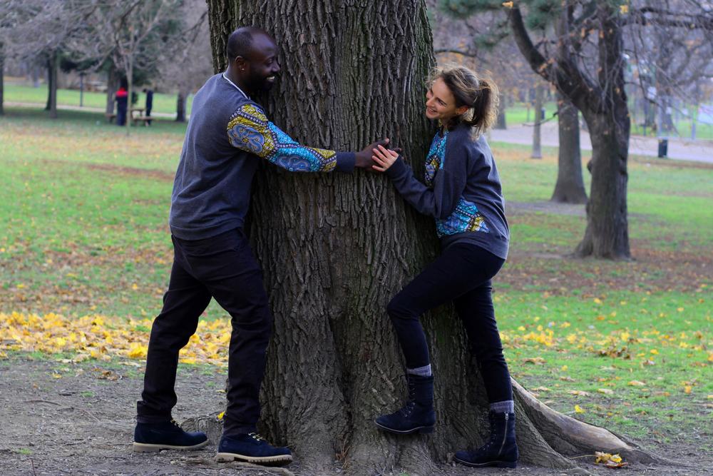 Partner-Look: afrikanischer Wax Print sweatshirt selbst genäht